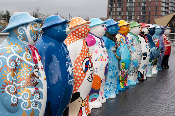 Walking with The Snowman sculptures