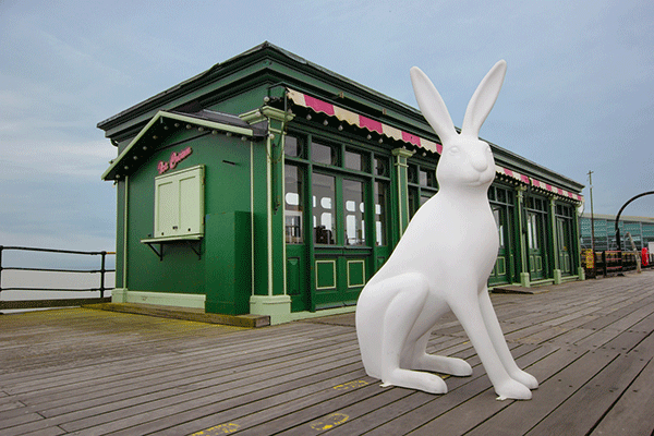 Hare sculpture on pier